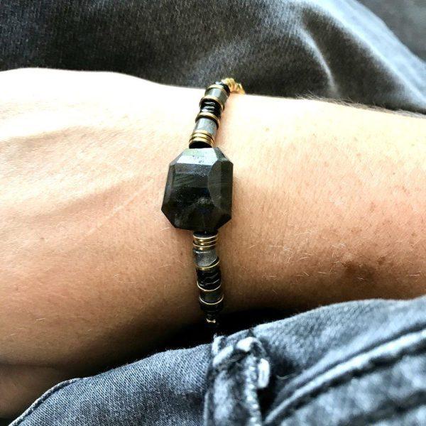 bracelet puka xl labradorite