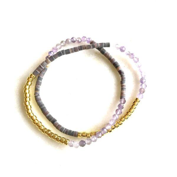 bracelet tiny puka amethyste