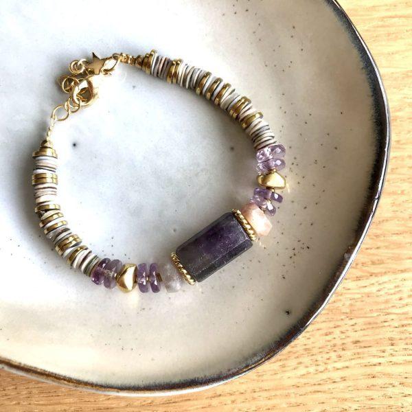 bracelet puka amethyste