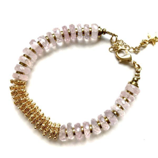 bracelet puka or quartz rose