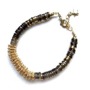 bracelet puka or quartz fume