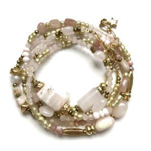 bracelet multitours opale rose